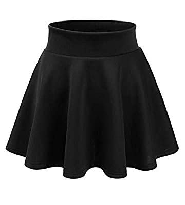 Maryclan Girls and Junior Stretchy Scuba Elastic Waist Band A-Line Flared Swing Skirt - Made in USA