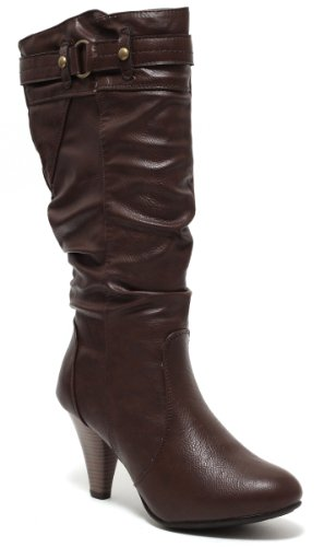 Damen Stiefel Langschaftstiefel Booties High Heels DARK CHOCOLATE BROWN