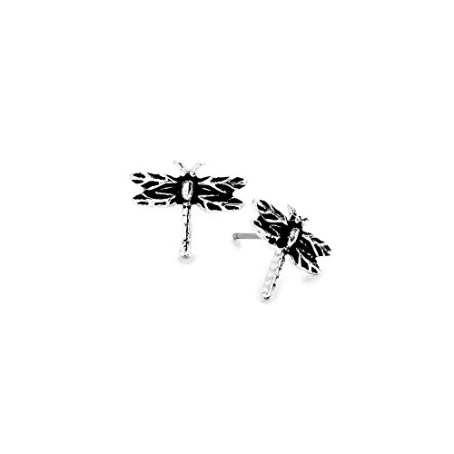 (Mini Antiqued Silver Dragonfly Post Earrings )