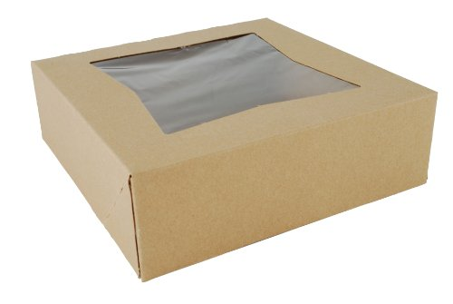 "Southern Champion Tray 24013K Kraft Paperboard Window Bakery Box, 8"" Length x 8"" Width x 2-1/2"" Height (Case of 200)"