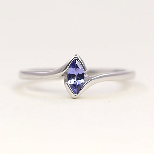 (Natural Marquise Tanzanite Engagement Ring, Solid 14k gold Wedding Ring, Simple Dainty Wedding Band, Unique Solitaire Ring)