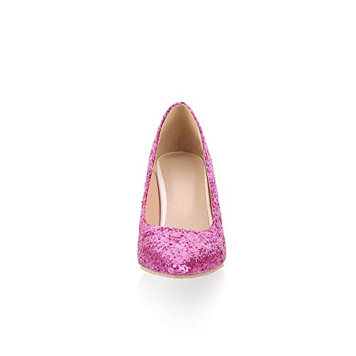 Closed Frosted Stiletto Pumps WeiPoot PU Pointed Toe Women's Sequin High Solid Purple H1wx5qqBX