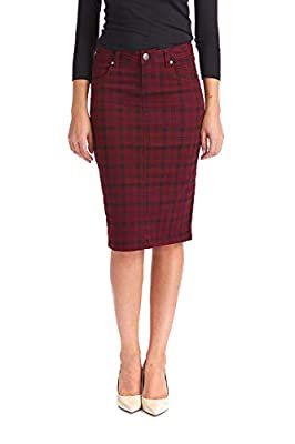 Esteez Women's Pencil Skirt - Modest Knee Length Stretch Jean Plaid - Melrose