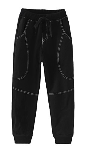 Boys Cotton Sweatpants Adjustable Waist Jogger Pants Trousers in Basic Colors