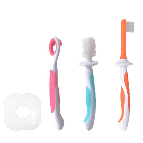 MasterMedi 3 Stage Baby Oral Hygiene Set Infant Oral Care Kit Advanced Baby Toothbrush / Tongue Cleaner (Assorted Color)