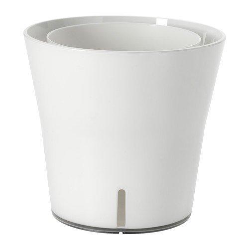 IKEA GRÖNPEPPAR Selbstbewässerungstopf in weiß
