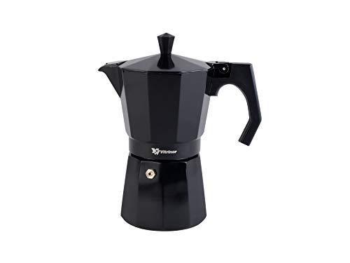 VITRINOR Cafetera italiana 12 tazas negro, negra, BLACK