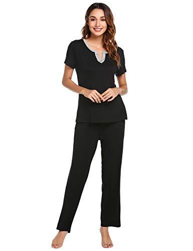 a92a3288e4 Venukiss Women s Pjs Sets Sleepwear Short Sleeves Pajama Set with Pants  Loungewear (S-XXL