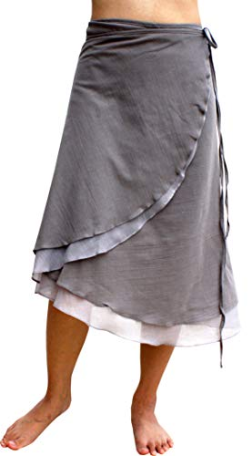Raan Pah Muang Brand Light Cotton Two Layered Carved Cut Summer Wrap Skirt, Medium, Taupe Gray