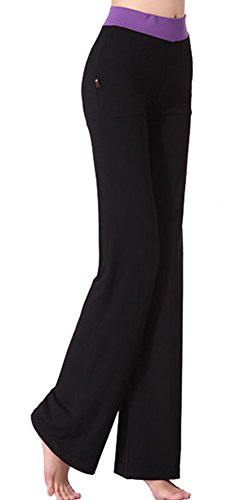 SL Women's Fold Over Waist Yoga Pants Flare Leg Workout Leggings Purple (Girls Flare Leg Twill Pants)