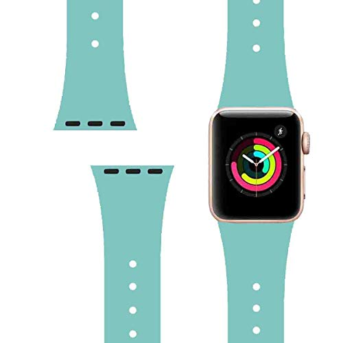 LitoDream Compatible with iWatch Band 38mm 40mm Silicone Cute Strap iWatch Band Wristbands Replacement for iWatch Series 4/3/2/1 Sport Edition (38mm/40mm, S/M, Green)