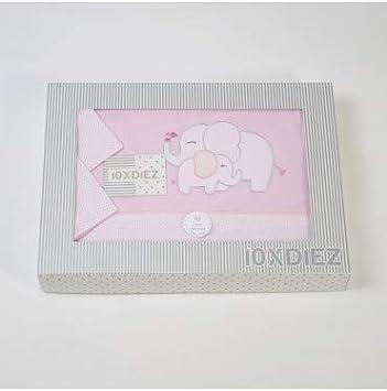 50x80cm 10XDIEZ Juego de s/ábanas Cuna Franela Elefante Rosa Minicuna Medidas sabanas beb/é