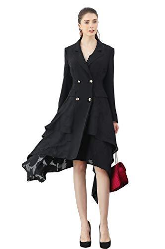 VOA Heavy Silk Black Trench Coat Elegant Vintage Ladies Outerwear Sexy Mesh Party Tuxedo Autumn Dinner Suit Long Sleeve F330