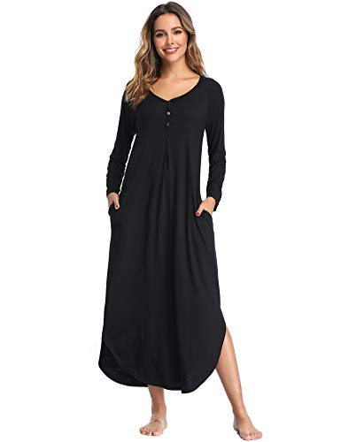 Lusofie Long Sleeve Nightgowns for Women Oversized Pleated Sleepshirt Button- up Casual Loungewear with Pocket