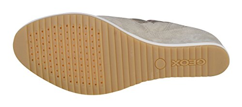 Sportschoenen Sneakers Voor Dames Geox Womens Suede Sleehak Taupe