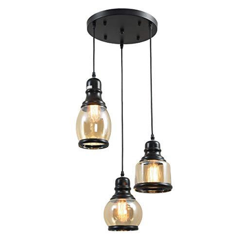 3-Light Vintage Glass Pendant Light, UL-Listed Retro Hanging Lighting Fixture with 3 Lights, Unique Traditional Jar Style Glass Lights for Dinning Room, Bar, Cafe Bulb Not Included 3-Glass Jar