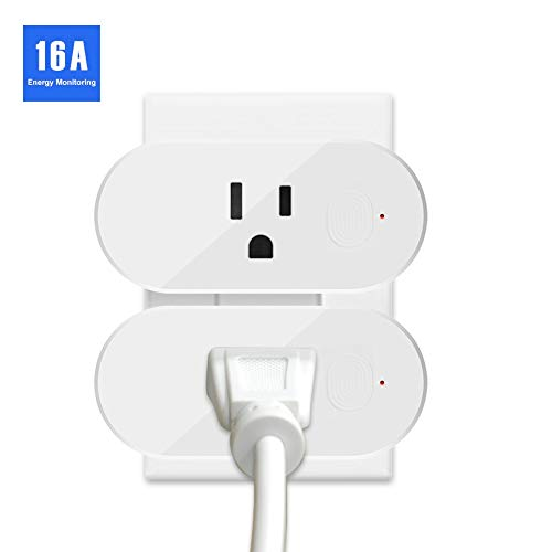 Smart Plug, 2-in-1 Wifi Plug Outlet Work with Alexa Google IFTTT, App Remote Control, Timing Function Smart Socket, Mini Outlet with Energy Monitoring, No Hub Needed, 16A 2 Pack (White)
