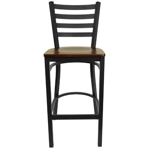 (Flash Furniture HERCULES Series Black Ladder Back Metal Restaurant Barstool - Mahogany Wood Seat)