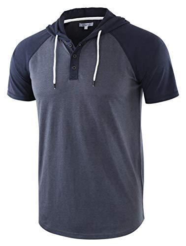 Vetemin Men's Casual Short Raglan Sleeve Henley Jersey Hoodie Baseball T Shirt Cadet Blue/Navy XL ()