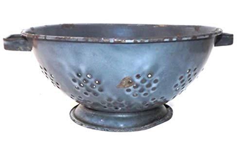 Gray Swirl Enamelware Shabby Porcelain Enamel Colander Footed Strainer