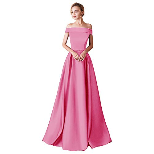 (WHZZ 2018 Prom Dresses for Women Off The Shoulder Formal Dresses Evening Gowns Hot Pink)