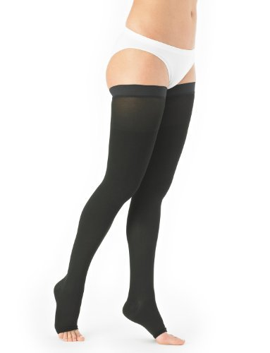 Neo G True Graduated Compression Hosiery Open Toe Thigh High Stockings medical grade, 20-30mmHg by Neo-G