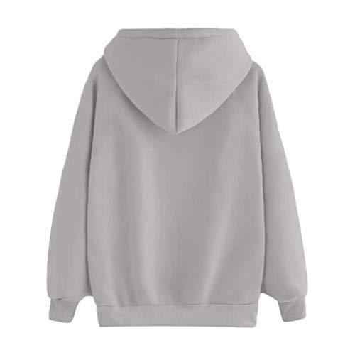 Sweat Poche Kangrunmy Chemisier Capuche Ne DBardeur Imprimer Femme Imprim Shirt Gray Femmes A Motic Chemise Automne Longues Sweat Blouse Manches Chic S4wqtxC
