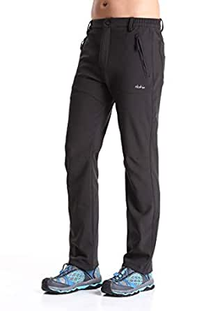Clothin Men's Softshell Fleece-Lined Winter Pants - Warm, Breathable, Water-Wind-Resistant-Insulated(Black-1,L)