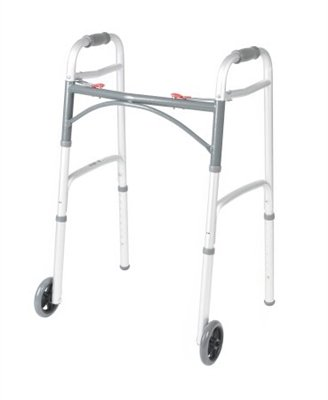 Folding Walker, Adult, with 5'' Wheels, Push Button Dual Release, Aluminum, Adjustable Height 32'' to 39'', 350 lb. Capacity by McKesson