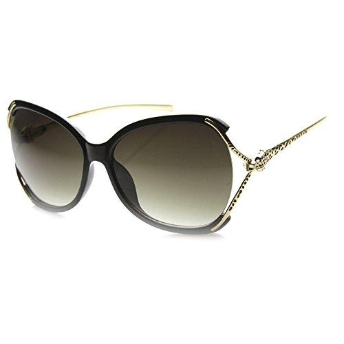 zeroUV - Womens High Fashion Oversized Jaguar Studded Temple Butterfly Sunglasses (Black-Gold / - Sunglasses Jaguar