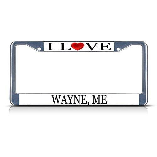 Cukudy Car Auto Tag Holder Chrome I Love Heart Wayne Me Aluminum Metal Car Auto Tag Holder Chrome Silver (Best Auto Tags Wayne)