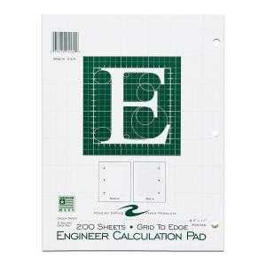 Bulk Engineering Pads, 5x5 Grid, 8.5''x11'', Green Paper, 200 Sheets: Roaring Spring 95589 (24 Engineering Graph Pads)