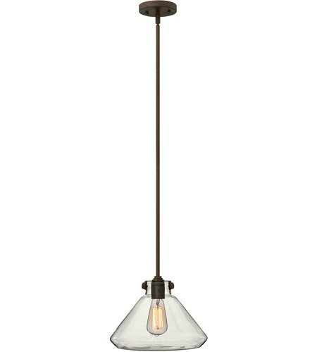 Congress Pendant (Mini Pendants 1 Light With Oil Rubbed Bronze Clear Steel Drum Medium Base 12 inch 100 Watts)