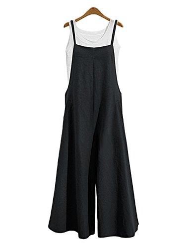 Freashine Women's Jumpsuits Casual Suspender Overalls Bib Pants Plus Size Black 4XL