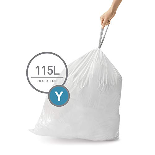 simplehuman Code Y Custom Fit Trash Can Liner, 200 Commercial Pack, 115 L/ 30 Gallon (Best Trash Compactor 2019)