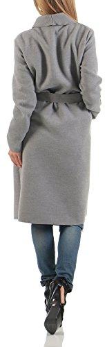 Donna Chiaro 3050 Unica Malito Basic Cascata Cappotti Grigio Taglia design Cardigan Lungo xYqwpPnq10