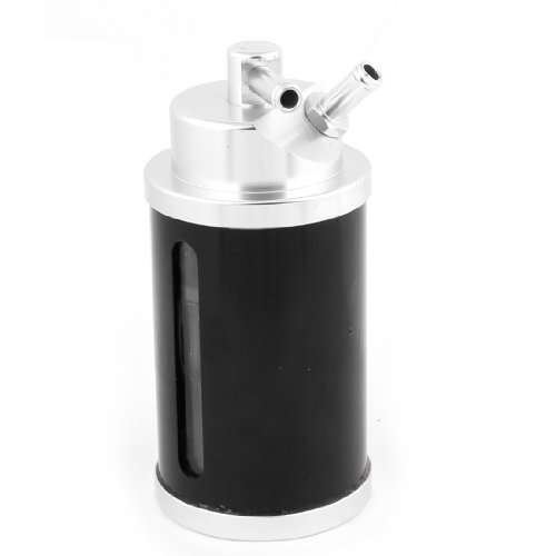 Racing Aluminum Cylinder Shape Oil Reservoir Catch Can Tank Kit Black