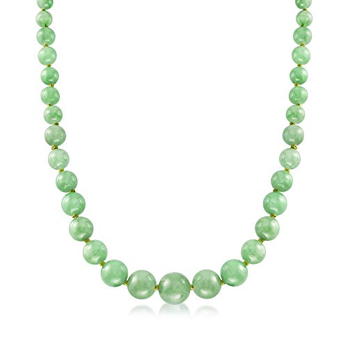 Ross-Simons 6-13mm Graduated Green Jade Bead Necklace With 14kt Yellow -