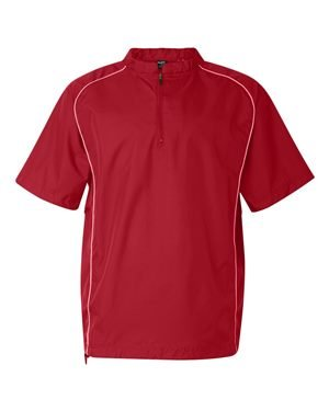 Rawlings Adult Quarter-Zip Short Sleeve Dobby Jacket With Piping (Red) (XL)