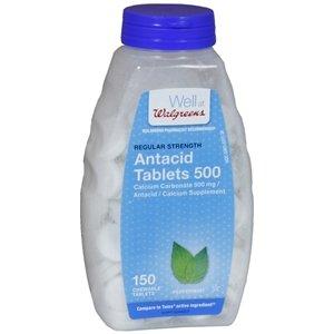 Walgreens Regular Strength Antacid/Calcium Supplement Chewable Tablets, Peppermint, 150 ea