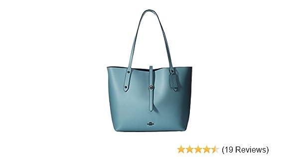 49d4441eb1 Amazon.com  COACH Women s Polished Pebbled Leather Market Tote Dk Cloud  Mineral Handbag  Shoes