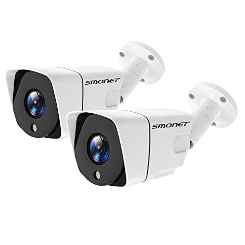 Better Than H.264 POE Security Camera, SMONET Full HD 1080P IP Camera,IP66 Home Security Camera for Indoor Outdoor,Support ONVIF,Cloud Service,65ft Night Vision,Super Low Bitrate 2Packs