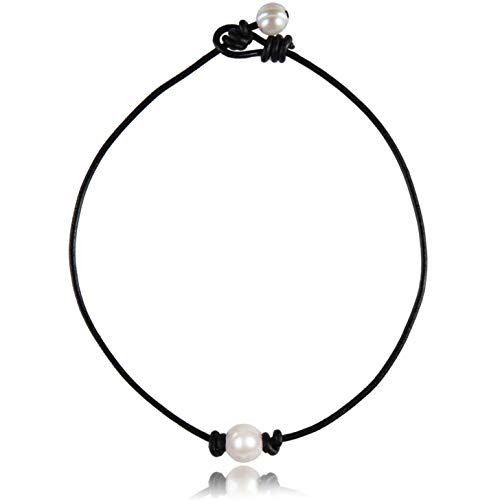 Barch Young Single Cultured Freshwater Pearl Choker Necklace for Women Genuine Leather Necklace Handmade 17 Inch