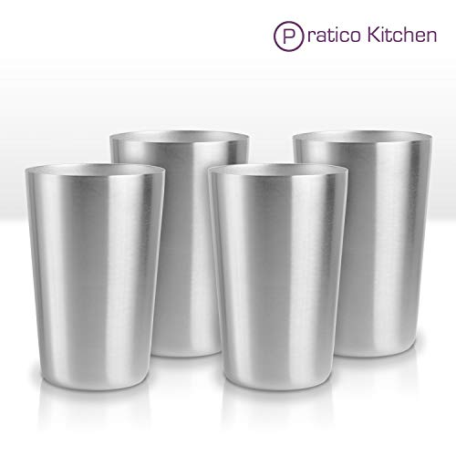 Pratico Kitchen Smooth Edge Stainless Steel Cups - Multi-purpose 16 oz Pint Glasses - 4 Pack (Steel Stainless Glass)