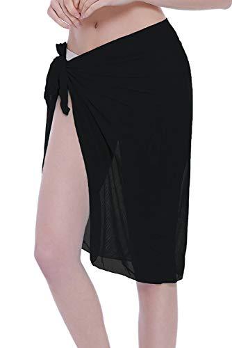 - ChinFun Women's Sheer Mesh Beach Cover up Bikini Wrap Sarong Pareo Bathing Suit Swimwear Half Skirt Solid Black