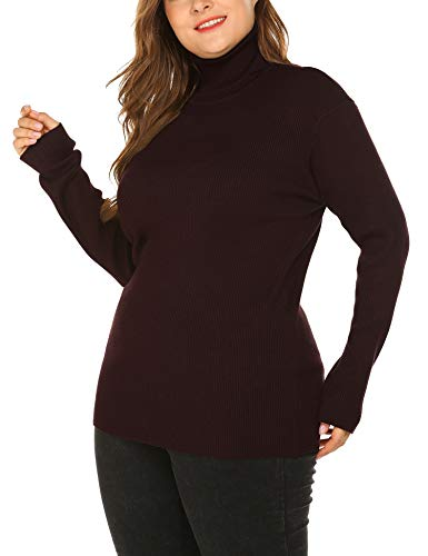 IN'VOLAND Women's Plus Size Turtleneck Rib Knit Pullover Sweater Lightweight Long Sleeve Top Khaki