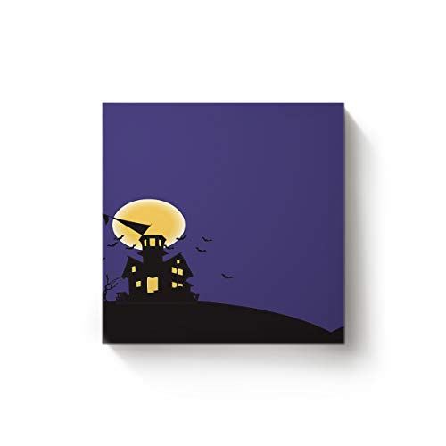 EZON-CH Square Canvas Wall Art Oil Painting Christmas Office Home Decor,Horror Halloween Castle Moon Bat Design Artworks,Stretched by Wooden Frame,Ready to Hang,24 x 24 Inch ()
