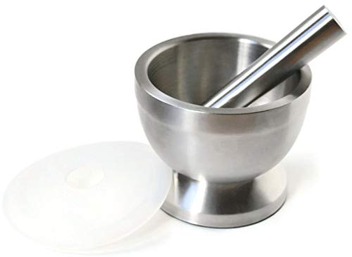 Burnish & Brown Large Restaurant/Pharmacy Grade 18/8 Stainless Steel Mortar and Pestle/Spice Grinder/Pill Crusher with Silicon Lid 4.7