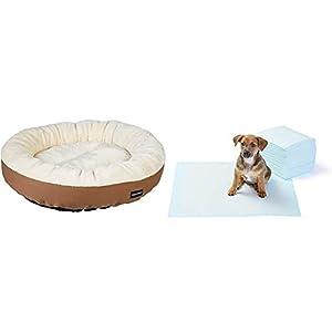 Amazon Basics – Cama Redonda para Mascotas + – Toallitas de Entrenamiento para Mascotas (tamaño Regular, 50 Unidades)