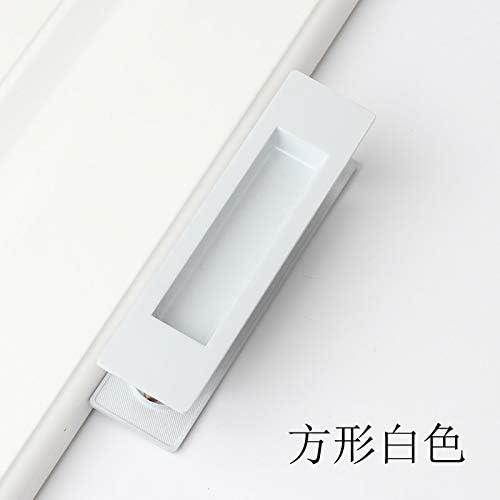 ZTZT Tirador de la puerta corredera tiradores integrados en línea puerta oculta puerta corredera de madera oculta invisible, cuadrada blanca: Amazon.es: Bricolaje y herramientas